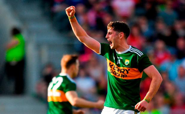 Paul Geaney of Kerry celebrates after scoring his side's second goal during the Munster GAA Football Senior Championship Final match between Cork and Kerry at Páirc Ui Chaoimh in Cork. Photo by Eóin Noonan/Sportsfile