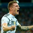 Germany's Toni Kroos celebrates scoring their winner. REUTERS/Michael Dalder
