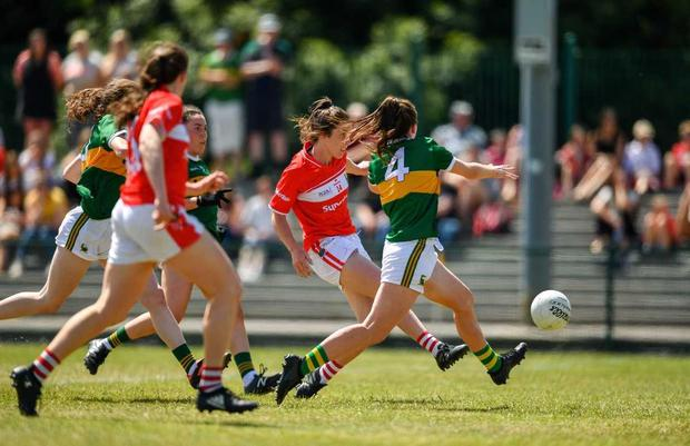 Ciara O'Sullivan of Cork scores her side's second goal of the game during the TG4 Munster Ladies Senior Football Final match between Cork and Kerry at CIT in Bishopstown, Cork. Photo by Eóin Noonan/Sportsfile
