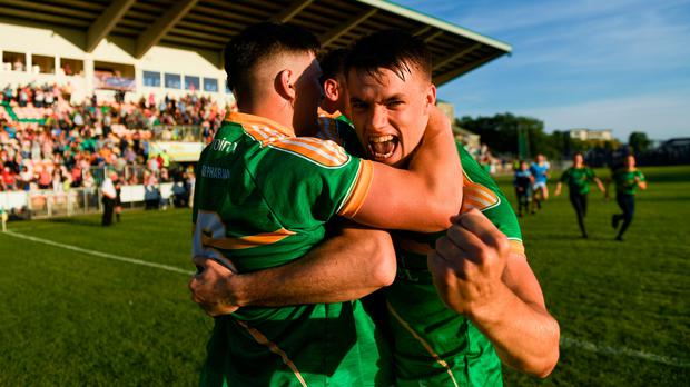 Darragh Rooney of Leitrim celebrates their victory in the GAA Football All-Ireland Senior Championship Round 2 match between Leitrim and Louth at Páirc Seán Mac Diarmada last week