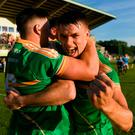 Darragh Rooney of Leitrim celebrates their victory in the GAA Football All-Ireland Senior Championship Round 2 match between Leitrim and Louth at Páirc Seán Mac Diarmada in Carrick-on-Shannon, Co. Leitrim. Photo by Ramsey Cardy/Sportsfile