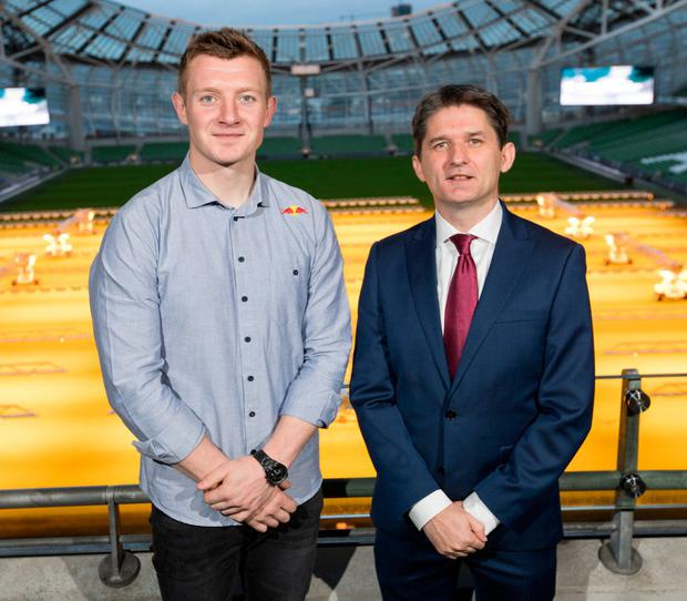 Galway hurler Joe Canning with John Trainor, founder and CEO of Onside. Photo: Naoise Culhane Photography