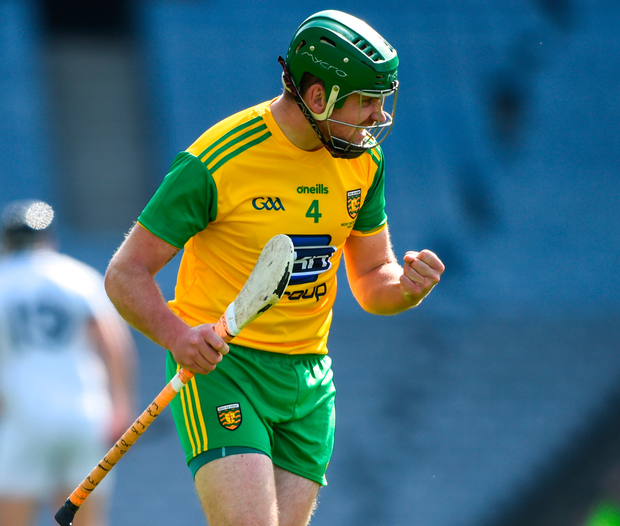 Donegal's Stephen Gillespie celebrates scoring his side's first goal. Photo: David Fitzgerald