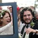 Kit Harington and Rose Leslie at Rayne Church, Kirkton of Rayne in Aberdeenshire, after their wedding (Jane Barlow/PA)