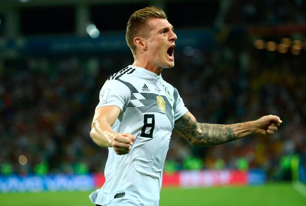 Germany's Toni Kroos celebrates scoring their winning goal. Photo: Michael Dalder/Reuters
