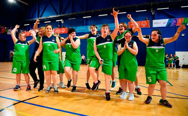 ACHIEVEMENT: The Connaught Female Team 1 team celebrates after winning the Ladies Basketball Final during the 2018 Special Olympics Ireland Games. Photo: Tom Beary/Sportsfile