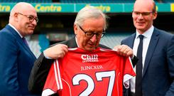 European Commission President Jean-Claude Juncker with a Cork GAA jersey in Croke Park. Photo: Stephen McCarthy/Sportsfile