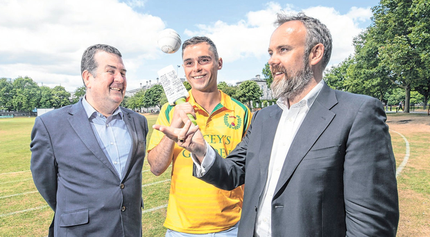 Dennis Cousins (l), Cricket Ireland's head of commercial operations, Ciaran Divney of Railway Union CC and Sunday Independent editor Cormac Bourke at the launch of The Sunday Independent Twenty20 Cup. Photo: Fergal Phillips.