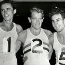Athletes Sandor Iharos, Chris Chataway and Laszlo Tabori at White City in 1955. Photo: George Elamperson/Shutterstock