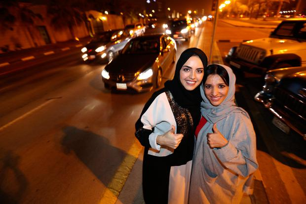 Saudi women celebrate after they drove their cars in Al Khobar, Saudi Arabia, June 24, 2018. REUTERS/Hamad I Mohammed