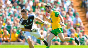 24 June 2018; Ryan McHugh of Donegal celebrates after scoring his side's second goal of the game during the Ulster GAA Football Senior Championship Final match between Donegal and Fermanagh at St Tiernach's Park in Clones, Monaghan. Photo by Ramsey Cardy/Sportsfile