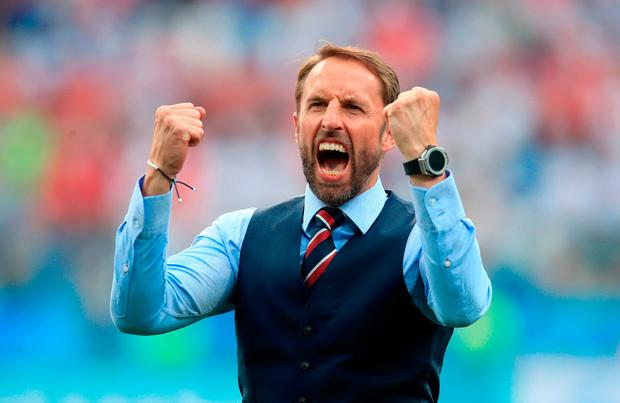 England manager Gareth Southgate reacts after the final whistle during the FIFA World Cup Group G match at the Nizhny Novgorod Stadium. Adam Davy/PA Wire.