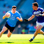 Paddy Andrews of Dublin in action against Darren Strong of Laois during the Leinster GAA Football Senior Championship Final match between Dublin and Laois at Croke Park in Dublin.
