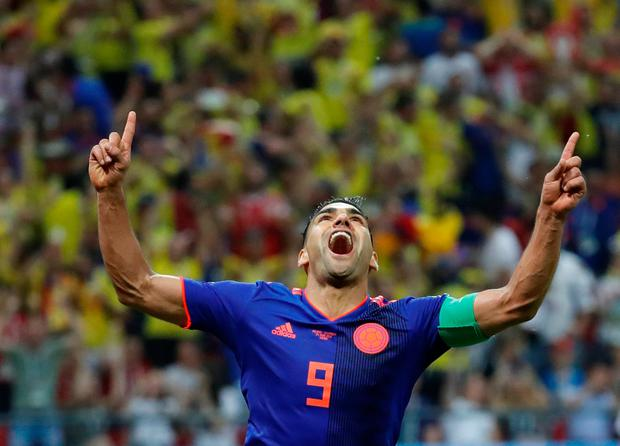 Colombia's Radamel Falcao celebrates scoring their second goal