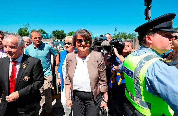 DUP Leader Arlene Foster at the Ulster final between Fermanagh and Donegal in Clones, Co Monaghan. Photo: PA