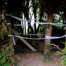 General view of the entrance to the field where the body of Cameron Reilly was found in Dunleer, Co. Louth.