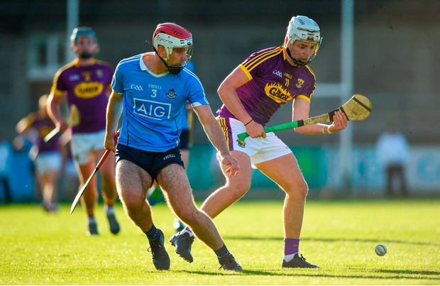 Rory O'Connor of Wexford in action against Paddy Smyth of Dublin. Photo by David Fitzgerald/Sportsfile