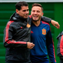 Spain relief: Spanish head coach Fernando Hierro and midfielder Saul shares a light moment in training ahead of this evening's Group B clash with Morocco in Kaliningrad