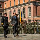 Taoiseach Leo Varadkar inspects the troops at the UN peacekeeping commemoration in Dublin Castle. Photo: Doug O'Connor