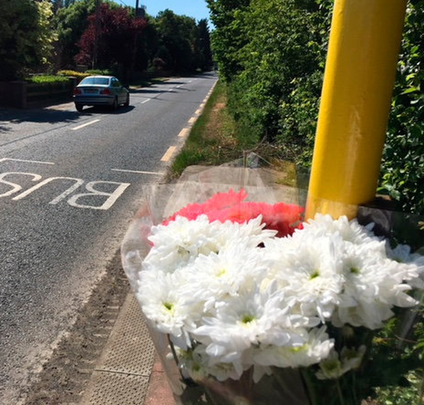 A floral tribute left to Ilmars Zorge near the spot where he was hit