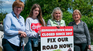 Residents Margareth Kearney, Stephanie O'Toole, Miriam Mason and Valerie Keogh protest over the road closure