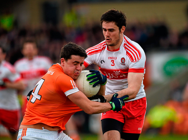 Stefan Campbell, Armagh, in action against Chrissy McKaigue, Derry. Picture credit: Oliver McVeigh / SPORTSFILE