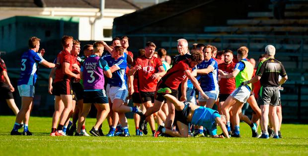 A general view of a fracas breaking out after the final whistle during the GAA Football All-Ireland Senior Championship Round 2 match between Cavan and Down at Brewster Park in Enniskillen, Co. Fermanagh. Photo by Barry Cregg/Sportsfile