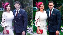 Kelly Brook with boyfriend Jeremy Parisi at Ascot. Left, is the edited picture she took and the right, is the original photograph