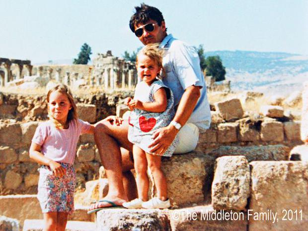 Kate Middleton with her sister Pippa and father Michael in Jordan in 1984. The picture was released as a courtesy of the Middleton family in the run up to Kate's 2011 wedding.