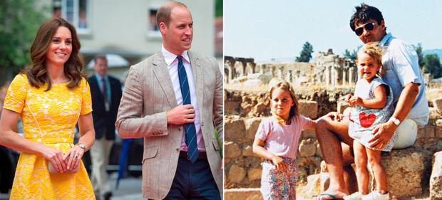 Kate Middleton and Prince William, left, and Kate Middleton with sister Pippa and father Michael in Jordan as a child, right