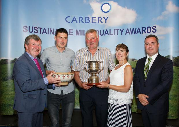 Bandon Co-op Winners. Peter Fleming, Carbery Group Chairman, James, Pat & Theresa O'Neill, Clohane, Bandon, Co Cork, Jason Hawkins, CEO Carbery Group. Photo: George Maguire