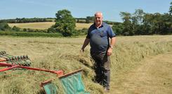 This week's forecast will suit farmers making or wrapping hay. In this photo the hay was cut on 21th of June and will be wrapped on 23rd June, according to farmer Liam Keating. Photo: Roger Jones