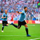 Soccer Football - World Cup - Group A - Uruguay vs Russia - Samara Arena, Samara, Russia - June 25, 2018 Uruguay's Luis Suarez celebrates scoring their first goal REUTERS/Dylan Martinez TPX IMAGES OF THE DAY