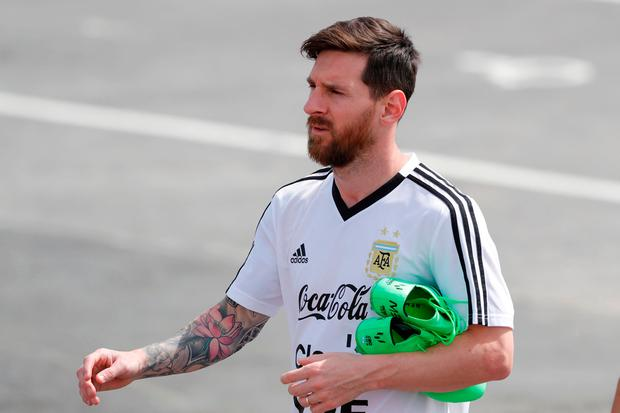 Lionel Messi arrives for training in Bronnitsy, Russia. AP Photo/Ricardo Mazalan