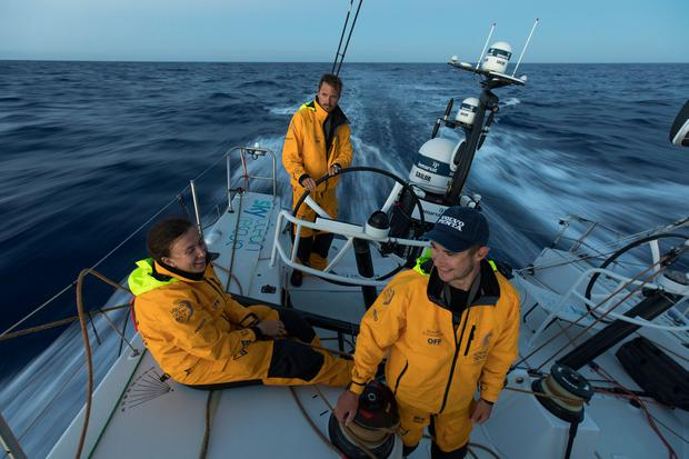 Annalise Murphy with team members Martin Stromberg and Lucas Chapman during the 45,000-mile sea race. Photo: Sam Greenfield/Volvo Ocean Race