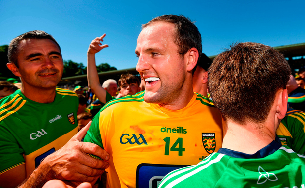 Michael Murphy is congratulated by Donegal fans after the Ulster SFC final victory. Photo: Sportsfile