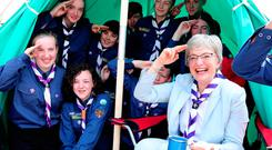 Children's Minister Katherine Zappone visits the 168th St Aengus Scout Den, Tallaght, Dublin. Photo: Maxwells