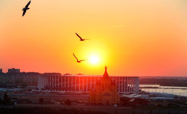 Sunset over the Nizhny Novgorod Stadium. Photo: PA