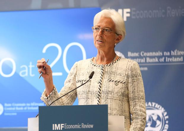Christine Lagarde, managing director of the International Monetary Fund, paid tribute to former Finance Minister Brian Lenihan as 'a solid soldier in the fight against the crisis'. Photo: Conor McCabe