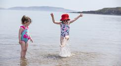 Clodagh Howley Mulhall (5) and Katie George Brennan (3) having fun in Loughshinny Pic: Mark Condren