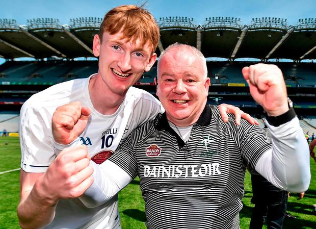 Kildare manager Joe Quaid and James Burke of Kildare celebrate following the Christy Ring Cup Final match between London and Kildare at Croke Park in Dublin. Photo by David Fitzgerald/Sportsfile