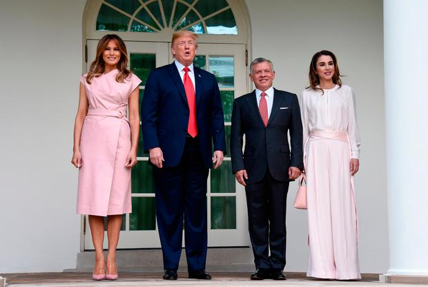 U.S. President Donald Trump and first lady Melania Trump greet King Abdullah II and Queen Rania of Jordan on their arrival at the South Portico of the White House on June 25, 2018 in Washington, DC. (Photo by Olivier Douliery-Pool/Getty Images)