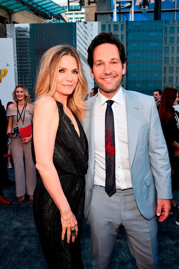 Michelle Pfeiffer (L) and Paul Rudd attend the Los Angeles Global Premiere for Marvel Studios'