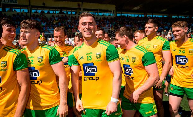 Patrick McBrearty of Donegal and his teammates await the final whistle of the Ulster GAA Football Senior Championship Final match between Donegal and Fermanagh at St Tiernach's Park in Clones, Monaghan. Photo by Ramsey Cardy/Sportsfile
