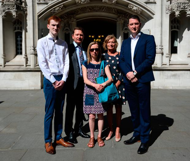 (left to right) Piaras, Michael, Katherine, Geraldine and John Finucane outside the Supreme Court in London Photo: Kirsty O'Connor/PA Wire