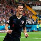Soccer Football - World Cup - Group D - Iceland vs Croatia - Rostov Arena, Rostov-on-Don, Russia - June 26, 2018 Croatia's Ivan Perisic celebrates scoring their second goal REUTERS/Albert Gea