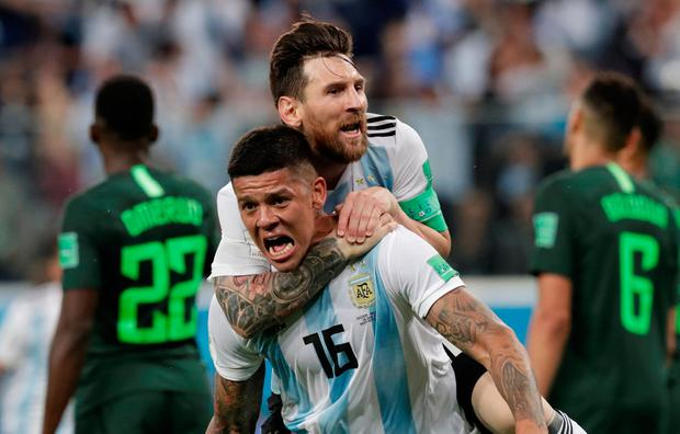 Soccer Football - World Cup - Group D - Nigeria vs Argentina - Saint Petersburg Stadium, Saint Petersburg, Russia - June 26, 2018 Argentina's Marcos Rojo celebrates scoring their second goal with Lionel Messi REUTERS/Henry Romero