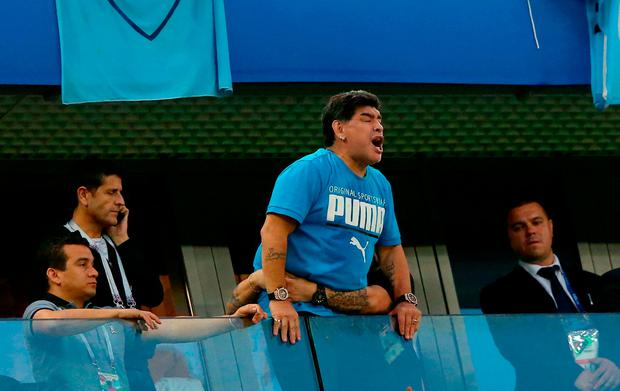 SAINT PETERSBURG, RUSSIA - JUNE 26: Diego Armando Maradona is seen in the stands during the 2018 FIFA World Cup Russia group D match between Nigeria and Argentina at Saint Petersburg Stadium on June 26, 2018 in Saint Petersburg, Russia. (Photo by Alex Livesey/Getty Images)