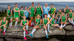 Ireland's hockey team at yesterday's World Cup Squad announcement. Photo: INPHO