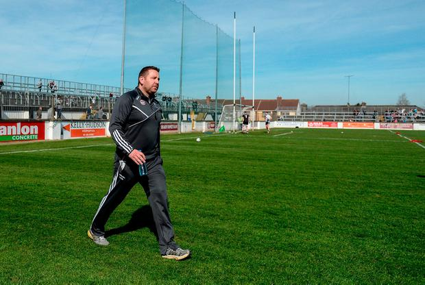 Cian O'Neill walks across the pitch at St Conleth's Park, where he insists he and his Kildare team will be on Saturday. Photo: Daire Brennan/Sportsfile